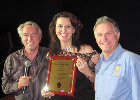 FRANK IFIELD and RICHARD YOUNG present the 2009 FRANK IFIELD INTERNATIONAL SPUR AWARD to NICKI GILLIS