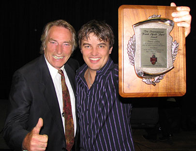FRANK IFIELD presents his 2006 INTERNATIONAL SPUR AWARD to TRAVIS COLLINS