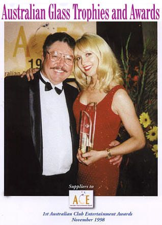 Glass Art's Graham Simpson with ACE Award winner Jane Scali
